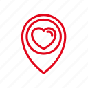 heart, location, love, map, pin, romance icon