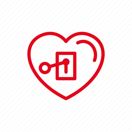 heart, key, lock, love, open, romance icon