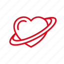 heart, love, planet, ring, romance, saturn icon