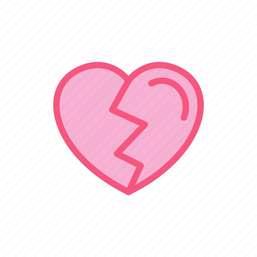 broken, crack, heart, love, pain icon