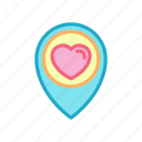 gps, heart, location, love, map, pin, place icon