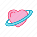 heart, love, planet, ring, saturn icon
