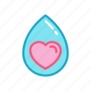 drop, fresh, heart, love, water icon