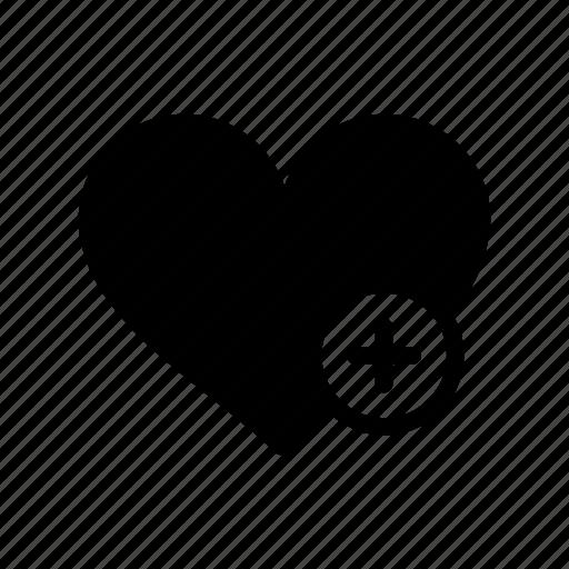 add, heart, like, plus, valentine day icon