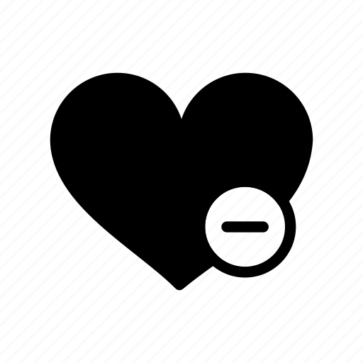 delete, heart, love, minus, valentine day icon