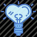 bulb, heart, light, love