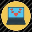 laptop, like, love, online, valentine