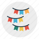 buntings, decoration, event, party, smallflags icon