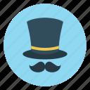 cap, hat, magician, mustache, party icon