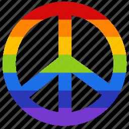 badge, gay, gay pride, peace, pride, rainbow, sign icon