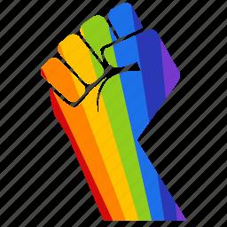 fight, gay, gay pride, hand, power, pride, rainbow icon