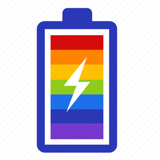 battery, energy, gay, gay pride, lgbt, power, rainbow icon