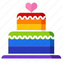 cake, gay, gay pride, party, rainbow, sweet, wedding cake icon