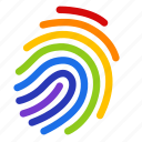 colorful, fingerprint, gay, gay pride, homosexual, identity, rainbow icon