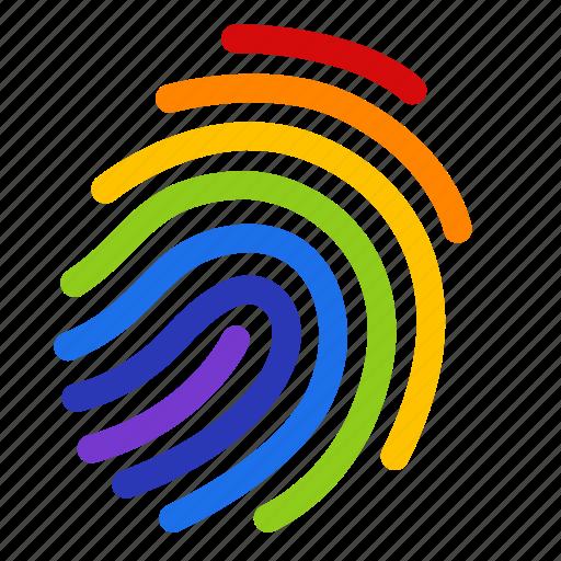 colorful, fingerprint, gay, gay pride, homosexual, identity, rainbow icon