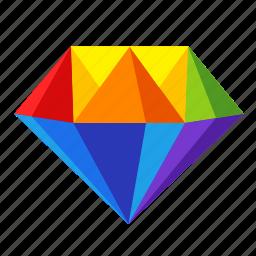 diamond, gay, gay pride, gem, lgbt, rainbow, valuable icon
