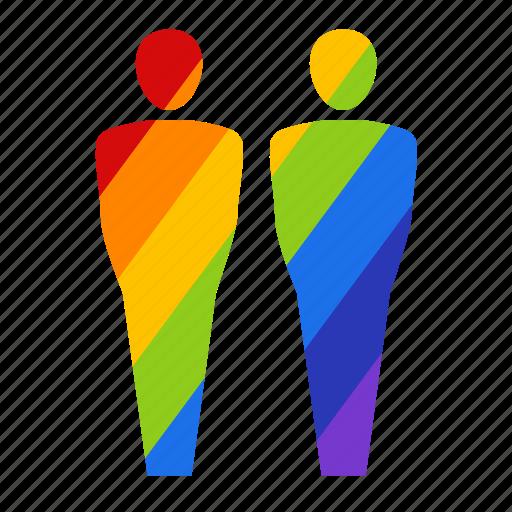 bisexual, couple, gay, gay pride, male, men, rainbow icon