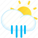 day, rainy, showers, sun, weather icon
