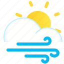 cloud, day, sun, weather, wind, windy icon