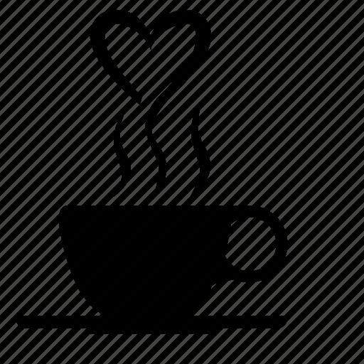 coffee, drink, heart, romantic, smoke icon