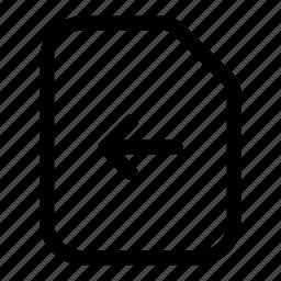 arrow, document, file, left, previous, send icon