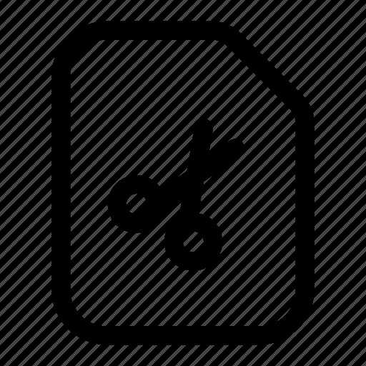cut, delete, file, remove, scissor icon
