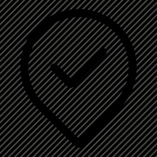 address, location, pin, verified, verify icon