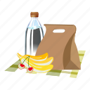 cartoon, child, food, fruit, hand, lunchbox, paper