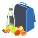 cartoon, food, fruit, kid, lunchbox, school, water