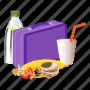 cartoon, drink, food, fruit, lunchbox, violet, water