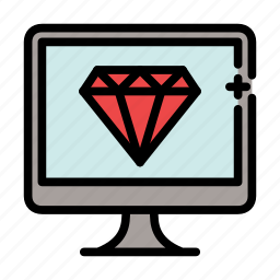 diamond, jewel, programming, ruby, vision icon
