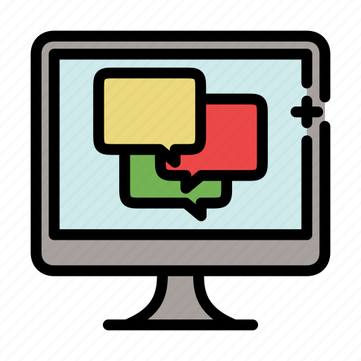 chat, dialog, discussion, forum, imac, message, monitor icon