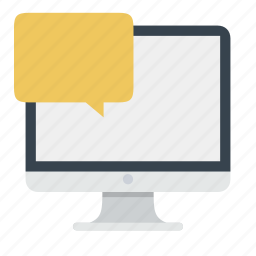 chat, dialog, help, imac, message, monitor, support icon