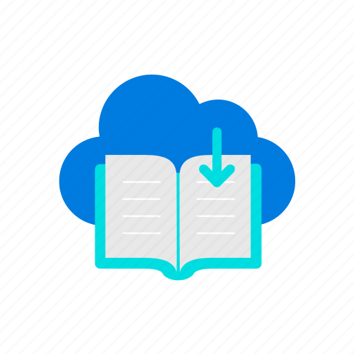 book, cloud, download icon