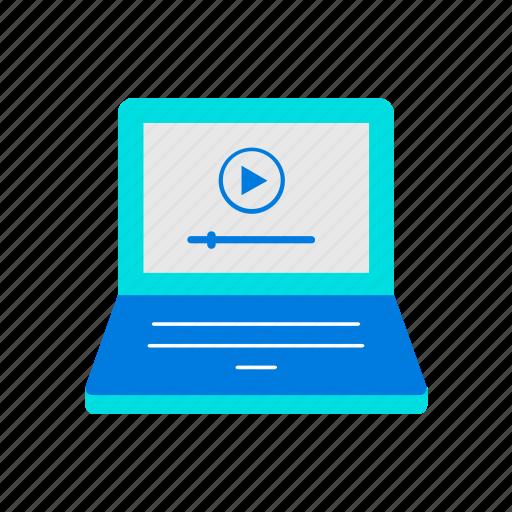 laptop, online, video icon
