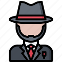 bandit, criminal, gang, hat, mafia, mafioso, suit icon