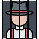 bandit, criminal, gang, jail, mafia, mafioso, prisoner icon
