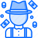 bandit, bank, criminal, mafia, mafioso, money, note icon