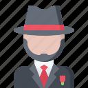 bandit, criminal, gang, hat, mafia, mafioso, suit icon
