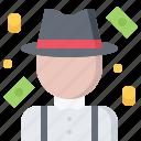 bandit, bank, criminal, mafia, mafioso, money, note icon