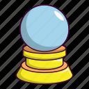 ball, cartoon, crystal, decoration, glass, globe, magic icon