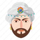 cartoon, character, eastern, magic, magician, man, turban icon