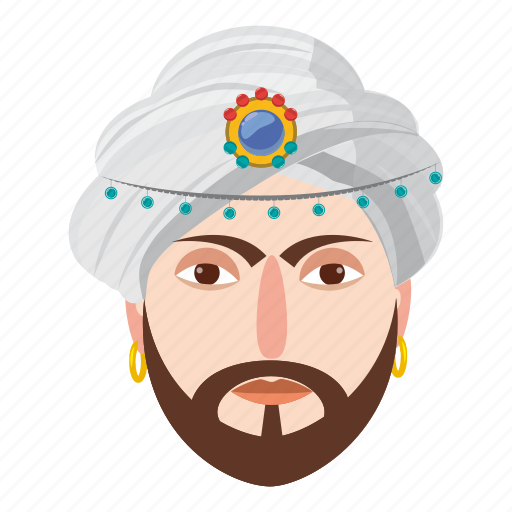 cartoon, character, eastern, magic, magician, man, turban icon