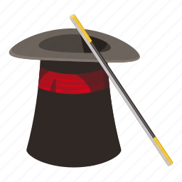 cartoon, entertainment, hat, magic, magician, sparkling, wand icon