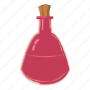 bottle, cartoon, flask, liquid, medicine, pink, potion icon