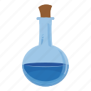 bottle, cartoon, flask, glass, liquid, medicine, potion icon