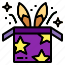 box, entertainment, magic, rabbit icon