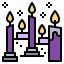 burning, candles, flame, light icon