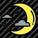 half, moon, night, stars icon
