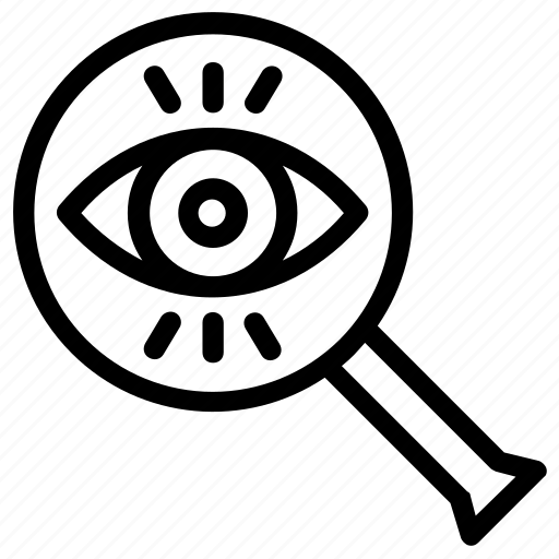eye magnifying, eye view, observe, search, spy magnifier icon